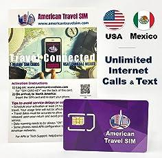 Prepaid Sim Karte USA und Mexiko, Unbegrenzte Daten Flat, Unbegrenzte Anrufe und Text