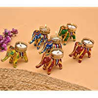 THE INDIA STYLE™ Elephant T-Lights Candle Holder Stand with Wax Candles for Home Decor Diwali Festival Decoration Diwali…