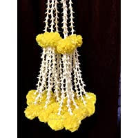 SPHINX Artificial Tuberose & Clustered Marigold Strings (Off White/Cream, 6 Piece)