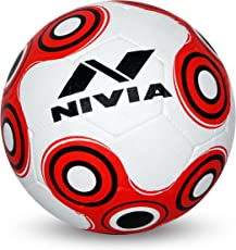 Nivia Spinner Rubber Moulded Football, Youth Size 5 (White/Red)