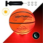 NIGHTMATCH Light Up Basketball - Junior Edition - INCL Ball Pump and Spare Batteries - Inside LED Lights up When Kicked...