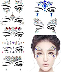 Hongyantech 8 Stück Gesicht Edelsteine, Schmucksteine Glitzersteine Aufkleber Glitter Bindi Strass Juwelen Face Tattoo Face Sticker für Glitzer Effekt, Parties, Shows, Make-up