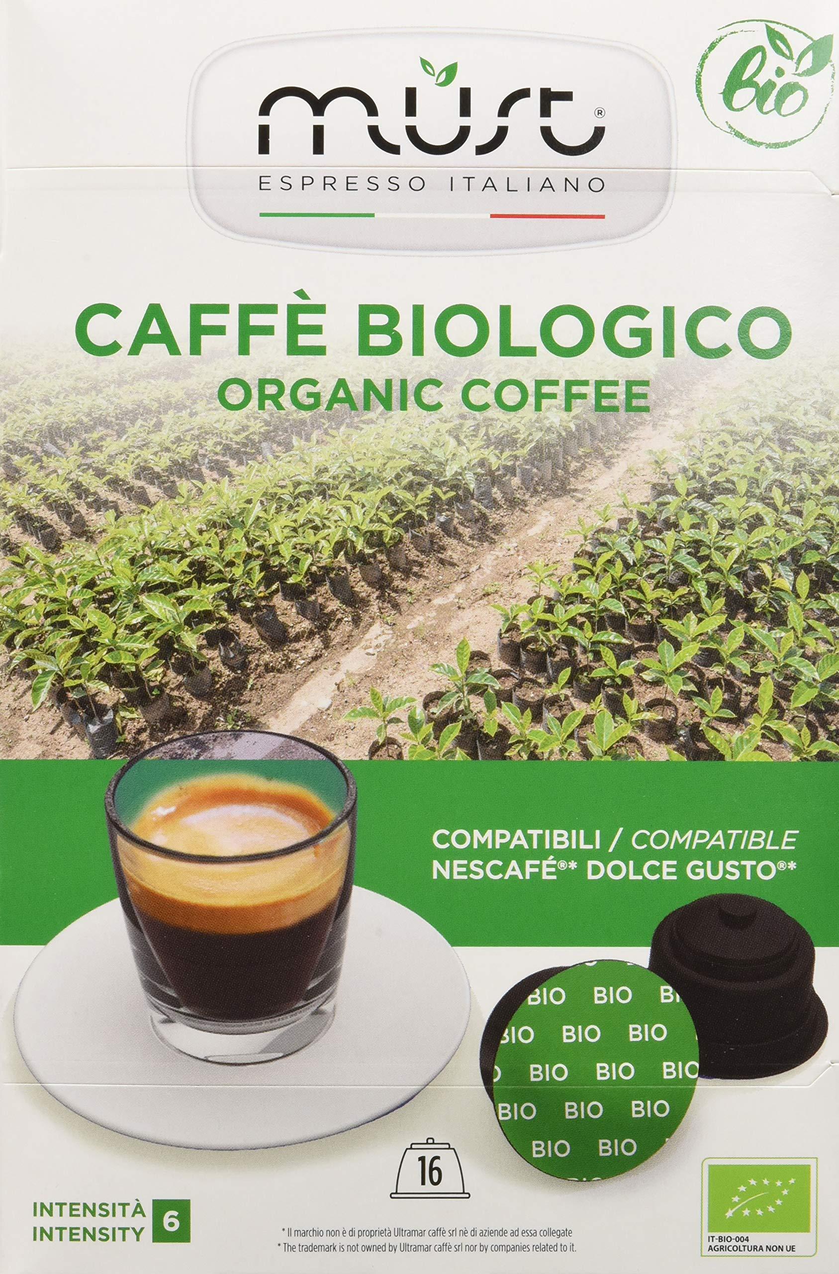 Must Espresso Italiano 96 Capsule Compatibili Dolce Gusto Caffè Bio - 6 confezioni da 16 capsule 1 spesavip