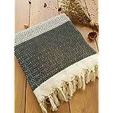 Safir Couvre-lit – Plaid – Idéal pour lit et canapé, 100 % coton – Franges faites à la main, 200 x 250 cm (Noir)