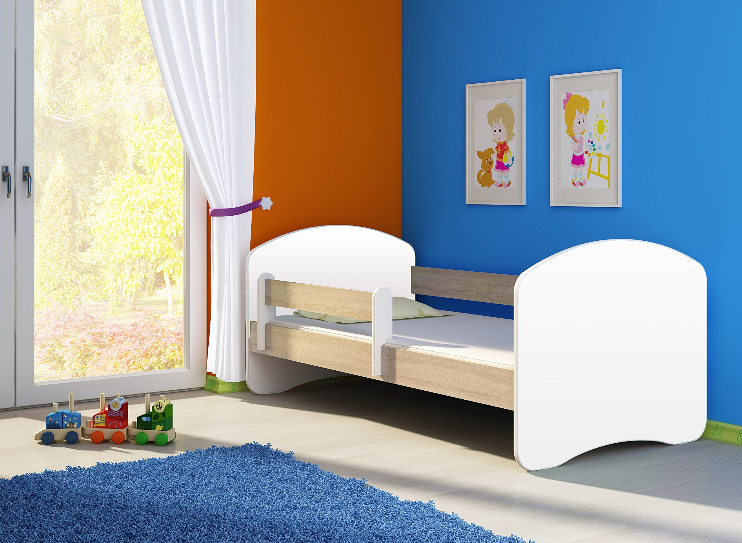 TODDLER CHILDREN KIDS BED + FREE MATTRESS DRAWER ACMA II WHITE (Sonoma Wood, 140x70 cm) ACMA Dimensions : 144 cm x 75 cm x 62 cm For safety all the edges of the bed are covered with a special PCV material The bed is proper for kids up to 100 kg 3