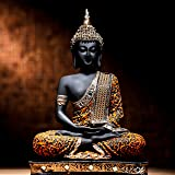 Global Grabbers Polyresin Sitting Buddha Idol Statue Showpiece for Home Decor Decoration and Gifting, 24CM