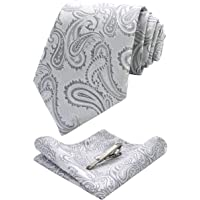 JEMYGINS Cravatta Uomo Paisley Design in Diversi Colori con Fazzoletto e Fermacravatta