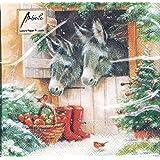 Ambiente Serviettes en papier Dinner//Party env 33x33cm Decorated Deer Taupe Id/éal Comme Cadeau