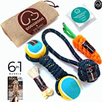 DOGGIE DOG Premium (6 In 1 Combo) Dog Toys Combo for Large and Medium Dogs - 3 Indestructible Cotton Dog Chewing Toys with One 4 Inch Dog Bone, Pack of 6 with Free eBook and Jute Carry Bag (Hand-Braided) Colour: Bob Barker Blue - by Doggie Dog