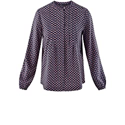 oodji Collection Mujer Blusa de Viscosa con Puntadas en el Pecho