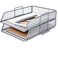 Exerz Corbeilles à courrier 2 Pièces/Bannette de bureau superposable à mailles métalliques/organisateur multifonctionnel…