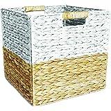 Box and Beyond Panier de Rangement en Jacinthe d'eau et Papier - Cube - Pliable - Poignées intégrées - Naturel/Blanc - 31x31x