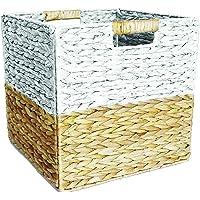 Box and Beyond Panier de Rangement en Jacinthe d'eau et Papier - Cube - Pliable - Poignées intégrées - Naturel/Blanc…