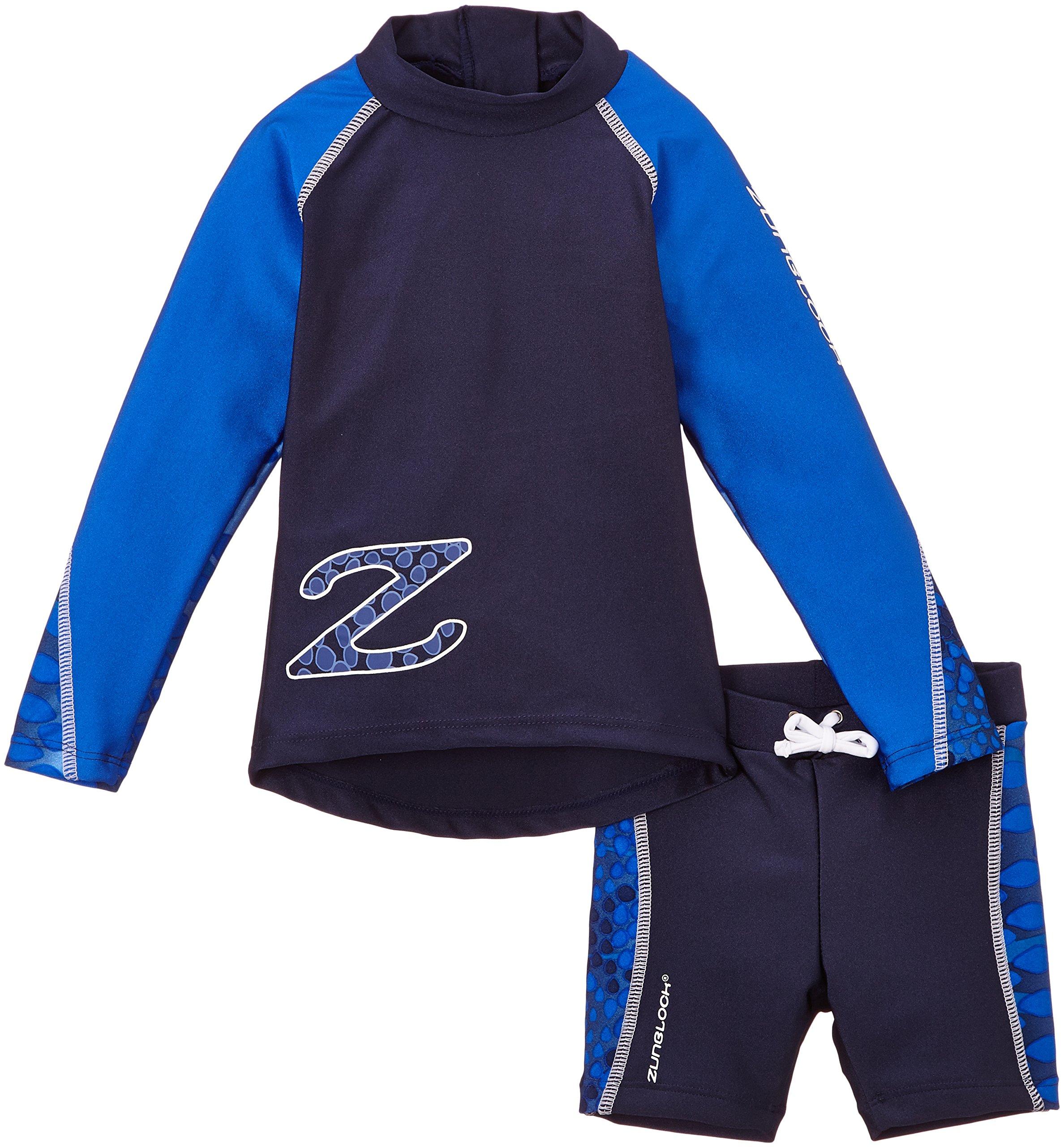 Zunblock Snake Tuta di protezione solare per bambini, a maniche lunghe e con pantaloncini, Blu, 74/8