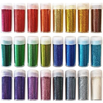 Extra Fine Arts & Crafts Glitter - Shake Jars for Scrapbooking, Face/Nail/Eye Art, Projects - Assorted Colours - Set of 24