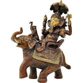 Aesthetic Decors Ganesh Sitting on Elephant Showpiece - 24 cm (Brass, Multicolor)