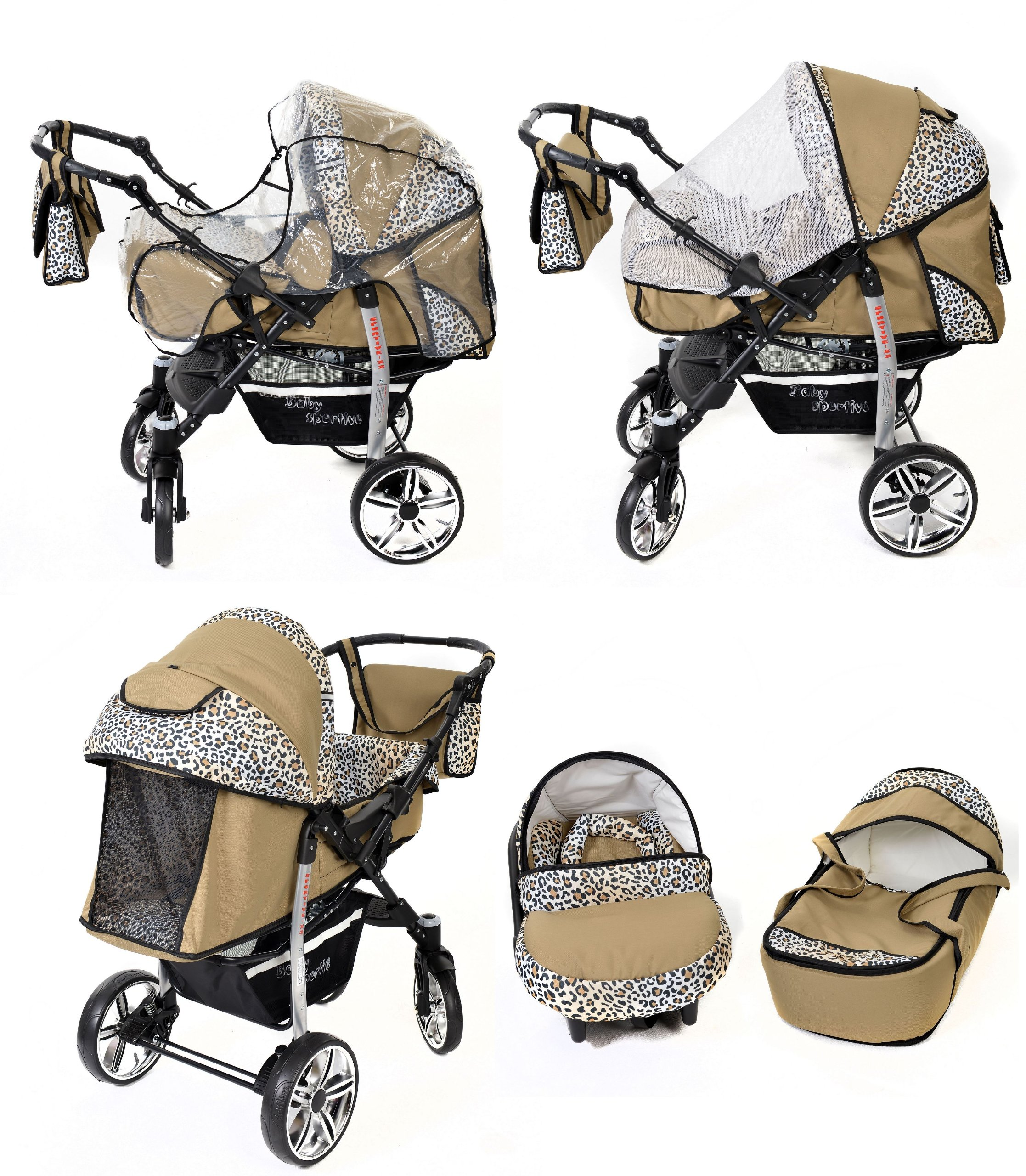 Sportive X2, 3-in-1 Travel System incl. Baby Pram with Swivel Wheels, Car Seat, Pushchair & Accessories (3-in-1 Travel System, Beige & Leopard) Baby Sportive 3 in 1 Travel System All in One Set - Pram, Car Carrier Seat and Sport Buggy + Accessories: carrier bag, rain protection, mosquito net, changing mat, removable bottle holder and removable tray for your child's bits and pieces Suitable from birth, Easy Quick Folding System; Large storage basket; Turnable handle bar that allows to face or rear the drive direction; Quick release rear wheels for easy cleaning after muddy walks Front lockable 360o swivel wheels for manoeuvrability , Small sized when folded, fits into many small car trunks, Carry-cot with a removable hood, Reflective elements for better visibility 7