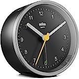 Braun klassisk analog väckarklocka med lummerfunktion och ljus, tyst kvartsurverk, Crescendo-alarm i svart och silver, modell