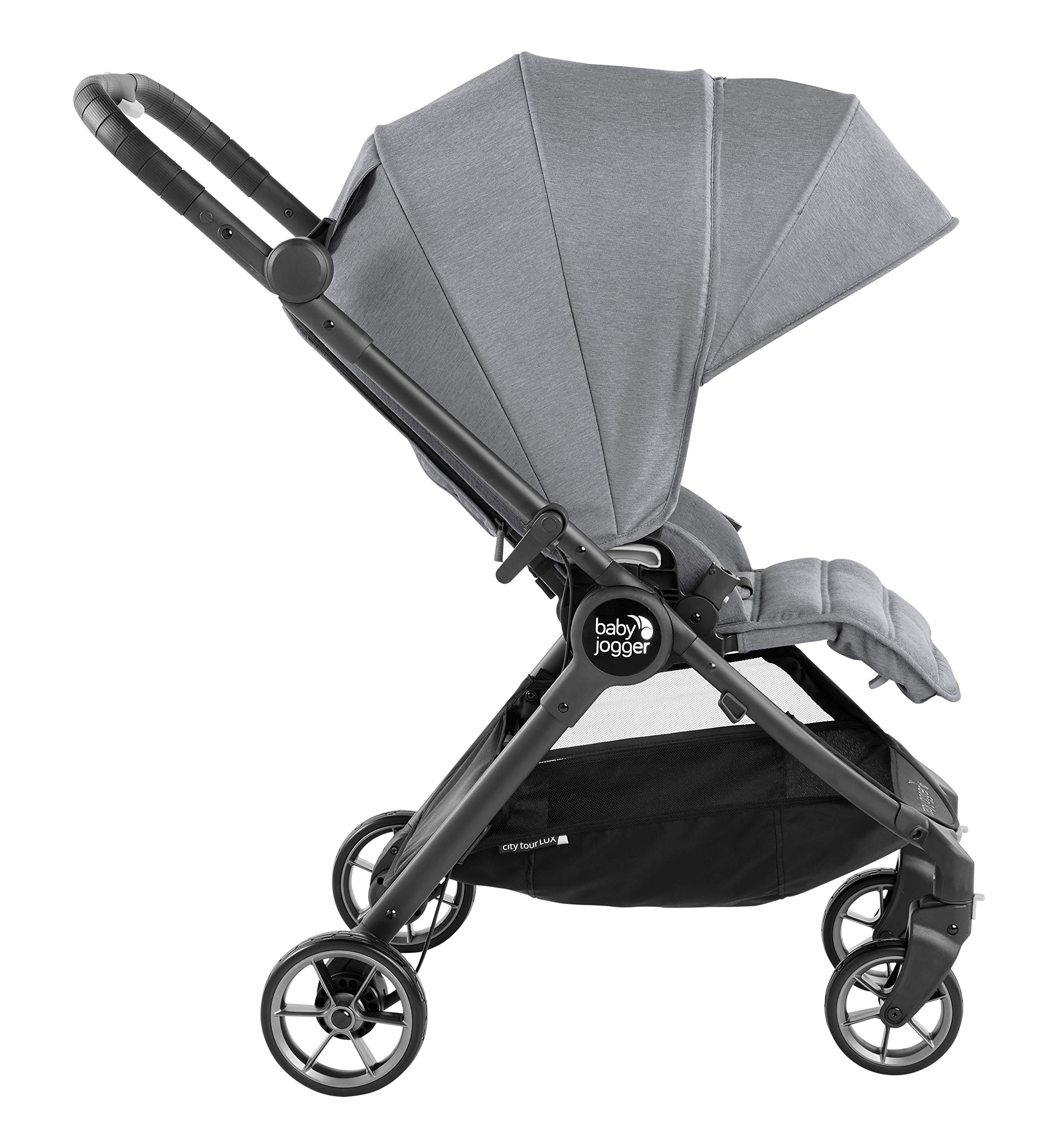 Baby Jogger City Tour LUX Compact Fold Reversible Stroller, Slate Baby Jogger The city tour lux and has a reversible from-birth seat unit for rear or forward travel Features an ultra-compact one hand fold and auto-lock when folded, allowing you to fold and go quickly. includes a carry bag and integrated carry strap a for easy transport With a flip flop friendly hand brake, lightweight and durable pu tyres and all wheel suspension to help keep mum and baby comfortable on many terrains 3