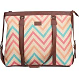ZOUK Multicolored Printed Handmade Vegan Leather Women's Office Bag for 15.6 inch Laptop with double handles - WavBeach