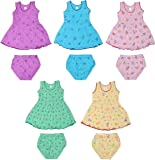 Sathiyas Akash 100% cotton Baby Girls Printed Dresses - (Set of 5) (IC401)