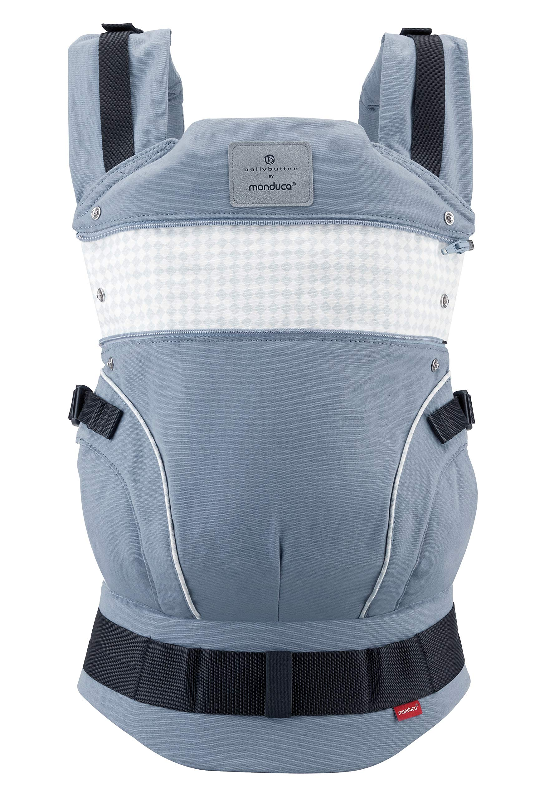 manduca First Baby Carrier > Bellybutton by manduca Edition, SoftCheck Blue < Child Carrier with Ergonomic Waist Belt & Patented Back Extension, Newborn to Toddler Manduca Trendy design in typical Bellybutton look, fine checked pattern on elegant grey, premium baby carrier made from 100% soft organic cotton with optimised finish, does not attract lint. Already integrated: seat reducer, stowable head and neck support, patented back extension, recommended accessories for newborns: Size-It (bridge reducer) and ZipIn ellipse. Ergonomic design for parents: anatomically shaped, dimensionally stable hip belt (up to 140 cm), 3-way adjustable soft padded shoulder straps, relieves the back and distributes the weight. 5