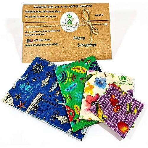 Involucri di cera d'api, set di 4, Colori casuali, BEE Zero Waste,beeswax wraps, UK HANDMADE, Alternativa naturale, Biodegradabile, senza plastica, regalo ecologico