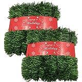 ATNKE 1600CM Décoration de Noël Herbe Verte Guirlande de Noël Artificielles Fait à Main, Couronne de Fleurs Idéal Déco Noël p