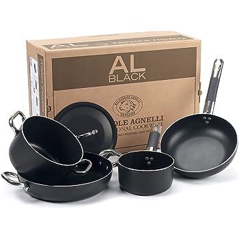 Pentole Agnelli ALSASETALBLACK2 all Black Set per 2 Persone, 3 mm, 5 Pezzi