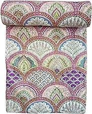 Kirti Textiles and Handicraft Single Size Handmade Kantha Quilt Floral Bedspread Cotton Kantha Coverlet Kantha Gudari