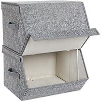 SONGMICS RLB02GY Lot de 2 boîtes de rangement empilables avec couvercle à charnière magnétique en tissu, cadre en métal…