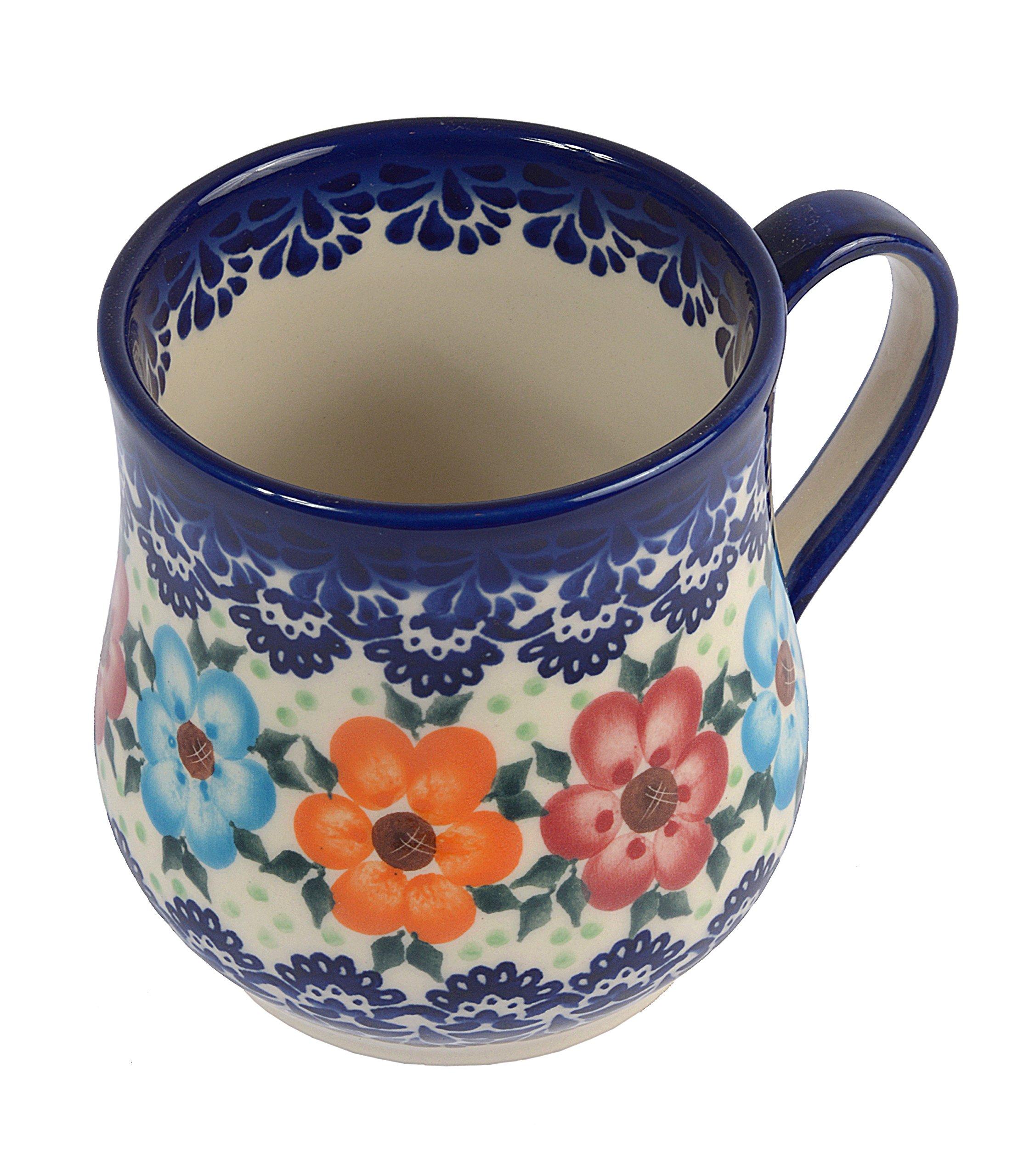 Traditional Polish Pottery, Handcrafted Ceramic Drop-shaped Mug (350 ml /12.3 fl oz), Boleslawiec Style Pattern, Q.102.BLUELACE