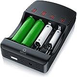 CSL - Universal Batterie Ladegerät | Akku Ladestation/Intelligent Battery Charger | 4X Aufladeschächte | Inkl. 1x USB-Ladeport/Powerbank-Funktion | Akkudefekterkennung