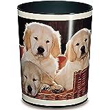 Läufer 26551 papperskorg hundar, 13 liter papperskorg, perfekt för barnrummet, rund, stabil plast, olika motiv