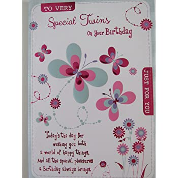 Twin Girls Birthday Card To Very Special Twins Just For You