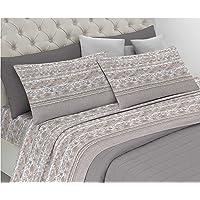 HomeLife Parure de lit 2 places en pur coton, fabriquée en Italie, avec taies d'oreiller de 52 x 82 cm, drap plat 240 x…