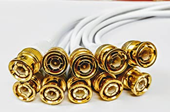 QXN PRO - BNC Connector with Copper Wire Moulded - 10PCS - 18CM - BNC Golden Male Plug Cable (White)