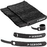 SEBSON® Klittenband Kabelbinder Herbruikbaar 100 Stuks - 12mm Breedte, 100mm Lengte - Klittenband met Lus Zwart, Variabel Afs
