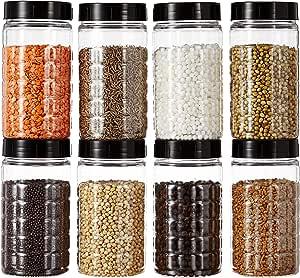 Amazon Brand - Solimo Spice Jar, 200 ml, Set of 8, Black
