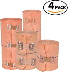 Mahavir Surgical High Elastic Crepe Bandage Wrap Compression Rolls with Fastening Clips - for Knee, Ankle, Elbow, Foot, Thigh, Belly, Calf, Hamstring, Wrist, Toe, Varicose Veins, Swelling, Arthritis - Pack of 4