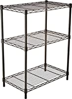 AmazonBasics Height Adjustable 3-Shelves Heavy Duty Rack - Black