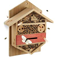 Relaxdays Insektenhotel sechseckige Nisthilfe für Bienen, Marienkäfer, Garten, Balkon, HxBxT: 33,5 x 28,5 x 10 cm, natur