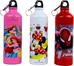 Laxmi Collection Premium Perpetual Bliss Fancy Disney Theme Insulated Leak Proof Metal Water Bottle,750ml, 7X7X26cm (Multicolour) - Pack of 3