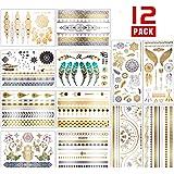 Chefic 12 Fogli per Tatuaggio Temporaneo 200 Modelli, Carta per Tatuaggi Temporanei Impermeabile Colore Metallico Adesivi per