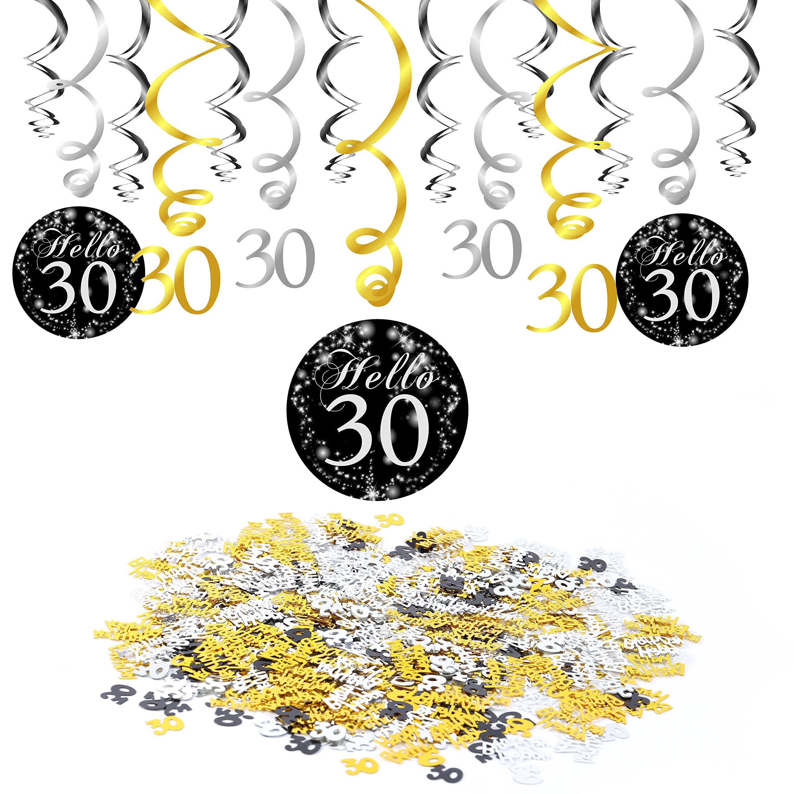 30 anni compleanno decorazione, Konsait nero appeso soffitto spirale decorazione (15 conteggi), buon