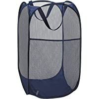 Callas Mesh Popup Laundry Hamper - Portable, Durable Handles, Collapsible for Storage and Easy to Open. Folding Pop-Up Clothes Hampers are Great for The Kids Room, College Dorm or Travel. (Blue)