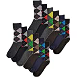 Sock Stack 12 Pairs of Men's Designer Socks, Cotton Rich Designs, Size 6-11