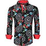Suslo Couture Men's Slim Fit Iced Floral Red Fashion Casual Button Down Dress Shirt