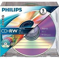 Philips CD-RW 80MIN Blank Disc x 5 Jewel Case 700MB 4-12 X Speed