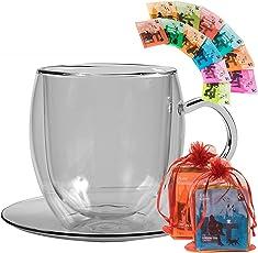 TEE GESCHENKSET: 500ML DOPPELWANDIGE JUMBO - GLASTASSE + 12x TEEBEUTEL - ein tolles Teeset, Probier- und Geschenkset, best. aus: 1x 500ml extra große Doppelwandtasse + 12 verschiedene Teebeutel - Weihnachtsgeschenk / Geschenk zu Weihnachten by Feelino